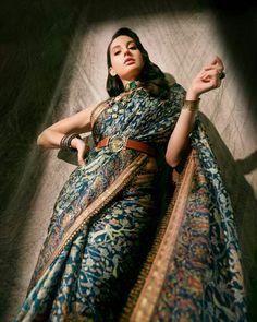 Indian Photoshoot, Saree Photoshoot, Nora Lovely, Beautiful Blonde Girl, Indian Designer Outfits, Beautiful Bollywood Actress, Indian Attire, Indian Celebrities, Girl Poses
