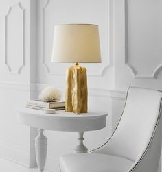 The Sierra Buffet lamp by Thomas O'Brien. Its distinctive base resembles petrified wood with a white paper shade softly diffusing light. Shown in gild; also available in silver leaf & plaster white. Luxury Lighting, Lighting Design, Desk Lamp, Table Lamp, Thomas O'brien, Circa Lighting, Buffet Lamps, Atlanta Homes, Petrified Wood