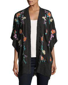 Johnny Was Classic Calla Embroidered Georgette Kimono ~ Shawl collar; Kimono Jacket, Kimono Top, Kimono Sewing Pattern, Jackets For Women, Clothes For Women, Embroidered Clothes, Johnny Was, Womens Fashion For Work, Kimono Fashion