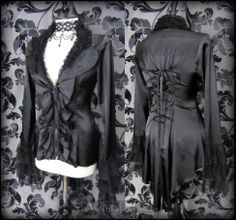 Elegant Gothic Black Satin Ruffle Lace Corset Tailcoat Jacket Top 10 12 Romantic | THE WILTED ROSE GARDEN on eBay // Worldwide Shipping Available