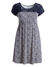 Navy & White Dot Lace-Yoke Empire-Waist Dress - Plus | zulily