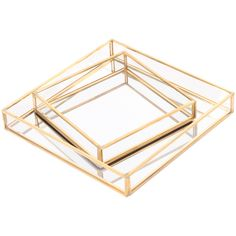 House of Hampton Streetsboro Glass Mirror Square 2 Piece Vanity Tray Set Color: Gold Mirror Tray, Metal Mirror, Vanity Tray, Vanity Set, Coffee Table Tray, A Table, Gold Glass, Clear Glass, Shadow Box