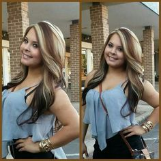 Brown with blonde highlights/ chunks
