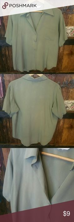 EXPRESS SILK Olive Button Up Blouse PRE OWNED.  Soft and casual short sleeved button up shirt.  In great condition, just missing the very top button. No size tag but fits a large. Very comfortable fit. Lots of room. Express Tops Button Down Shirts