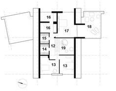 Rzut piętra: 12. komunikacja - 8 m2, 13. sypialnia - 32,5 m2, 14. garderoba - 3,5 m2, 15. garderoba - 3,5 m2, 16. łazienka - 16,5 m2, 17. sypialnia - 22 m2, 18. taras - 32 m2, 19. pustka nad salonem Organic Modern, House Plans, Floor Plans, How To Plan, Architecture, Studios, Design Ideas, Houses, Log Home
