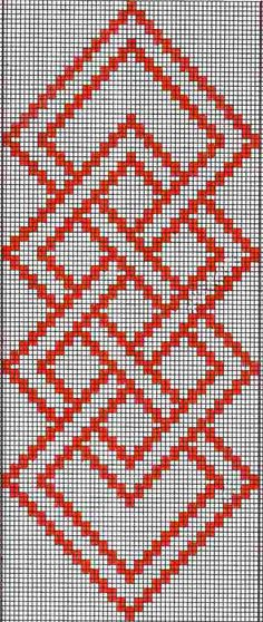 Hardanger Embroidery Patterns warp float knot - A full tutorial for this technique with step-by-step photos and video can be seen here. Here are the charts for two of the projects I presented in the Beyond Bands-Weaving Wide post. The first patt… Cross Stitch Borders, Cross Stitch Designs, Cross Stitching, Cross Stitch Patterns, Hardanger Embroidery, Cross Stitch Embroidery, Embroidery Patterns, Crochet Patterns, Inkle Weaving