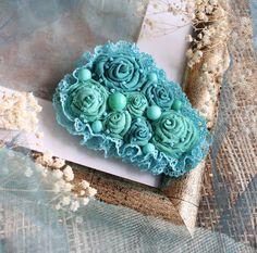 Купить Текстильная брошь Мята и бирюза - Елена Кожевникова, текстильная брошь, текстильная бохо-брошь