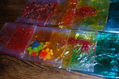Ideas for sensory bags: Example...hair gel, packing peanuts and  glitter