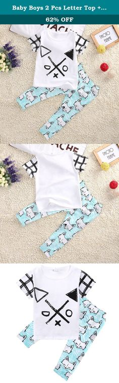 Baby Boys 2 Pcs Letter Top + Fox Cotton Pants Fashion Clothing Set Outfit 80cm. Your little boy is adorable in this cool outfit Size (CM): 1 inch = 2.54 cm ¡ñsize 70(about 9 months): top length 34 CM ,chest 54 CM ,bottom length 44 CM ¡ñsize 80(about 12 months): top length 36 CM ,chest 56 CM ,bottom length 47 CM ¡ñsize 90(about 24 months): top length 38 CM ,chest 58 CM ,bottom length 50 CM ¡ñsize 100(about 3 years): top length 40 CM ,chest 60 CM ,bottom length 53 CM ¡ñsize 110(about 4…