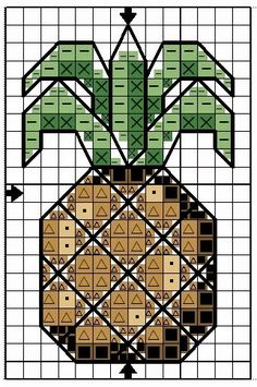CROSS STITCHED PINEAPPLE http://www.anastasiapollack.blogspot.com/2015/02/crafts-with-anastasia-cross-stitched.html