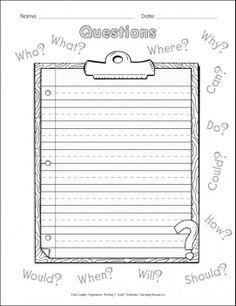 writers workshop graphic organizer   Graphic Organizer: Super Sentences (Questions)