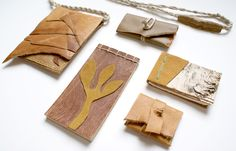 made in savannah; business card case, upcycled journals, crossbody purse. bernice london