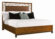Tommy Bahama Home Ocean Club King-Size Paradise Point Bed with Wood Framed Woven Rattan Panel - Baer's Furniture - Platform or Low Profile Bed