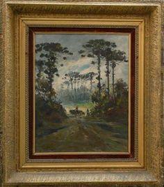 R. Vidal - Araucarias - Óleo sobre tela ACIE, medida da obra aprox. 50 x 40cm