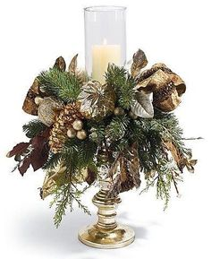 Patina Pre-lit Single Hurricane Arrangement Christmas Decor traditional holiday decorations