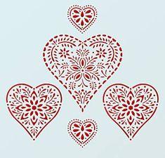 Folk Hearts Stencil