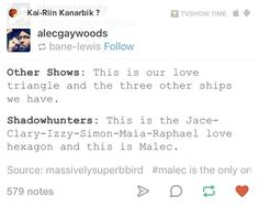 pinterest: @isobelvatilioti || I don't consider Saphael as a ship cause in the books it's not like that, but this is still funny #TMI #Shadowhunters