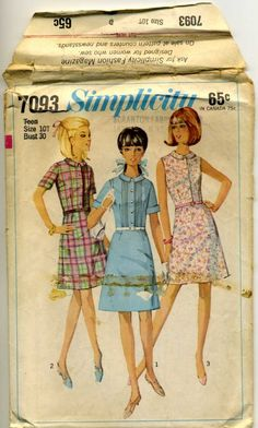 Villager Dress Pattern 1960s Simplicity 7093 Size Teen 10 Bust 30 Classic Shirtwaist Front Tucks. I bought mine in fabric pattern with green with little pink rose buds.