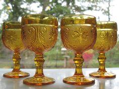 Tiara Indiana Glass 4 Amber Sandwich 4 oz Wine Goblets #TiaraExclusives #IndianaGlass