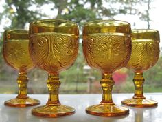 Tiara Indiana Glass 4 Amber Sandwich 4 oz Wine Goblets #TiaraExclusives #IndianaGlass