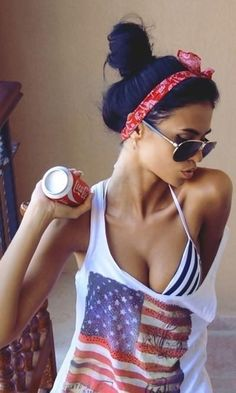 summer essentials= aviators, bathing suit, messy bun, slouchy tank, and coke.