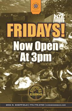 We both know you aren't going to stay at work until 5 on Friday.. Come in and get the party started with us!! Now open at 3pm every Friday