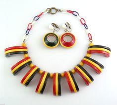 RARE Vintage 1940s Patriotic Bakelite Red White Blue Necklace Earrings Set | eBay