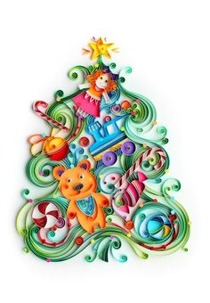 yulia, quilled Christmas tree