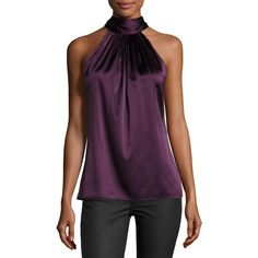 Ramy Brook Paige Halter-Neck Top ($148) ❤ liked on Polyvore featuring tops, merlot, ruched sleeveless top, halter top, halter-neck tops, ruched halter top and sleeveless halter top