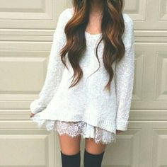 fashion, outfit, and white image sweater dress knee high socks stockings autumn winter style girly Ariana Grande brunette loose waves wavy hair set lace feminine dressy