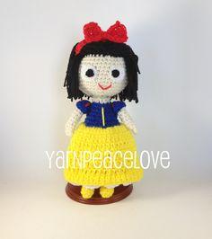 Crochet Snow White inspired doll by YarnPeaceLove.     www.facebook.com/YarnPeaceLove