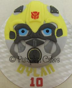 Transformers Bumblebee cake in chocolate mud cake