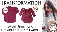 Transformation of Shirt into an Off-shoulder top (Hindi) inspired by Ken... Diy Fashion, Retro Fashion, Womens Fashion, Diy Tops, Gifts For Photographers, Shirt Refashion, Off Shoulder Tops, Diy Clothes, How To Look Pretty