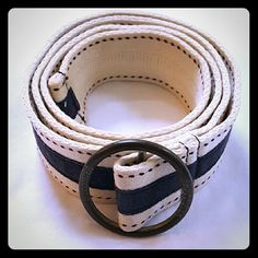 Hollister Belt Hollister Belt in Great Condition   Colors: Base Color Cream with Maroon Dots & Navy Blue Stripe.  Length: 35 1/2 inches Hollister Accessories Belts