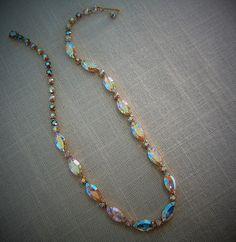 RHINESTONE CHOKER NECKLACE  Aurora Borealis Gold Tone Vintage Costume Jewelry $43.99 on Etsy by pegi16