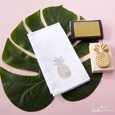 Add more glam to each table setting with DIY pineapple cloth napkins!