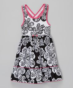 Another great find on #zulily! Black & White Paisley Floral Dress - Girls by Youngland #zulilyfinds