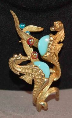 """RARE Marcel Boucher Seahorse Brooch w 2 Seahorses and AB """"Bubbles"""" Superb   eBay"""