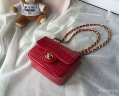 chanel crocodile pattern classic mini flap bag a1115 Red