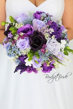 purple lavender wild flower look mixed purples plum Wedding Bouquet