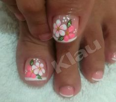 Uñas Toenail Art Designs, Pedicure Designs, Pedicure Nail Art, Toe Nail Art, Nail Nail, Pretty Toe Nails, Cute Toe Nails, Spring Nail Art, Spring Nails