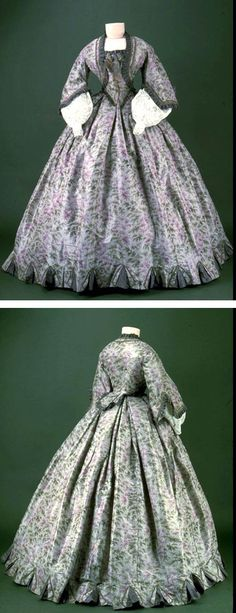 Day dress ca. 1861-63. Museum of London - Pattern in Janet Arnold's Patterns of Fashion