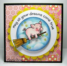 if pigs could fly.. they would definitely be this adorable!! Li'l Piggy Dreams - a card made with stamps from Lawn Fawn | Flickr - Photo Sharing!
