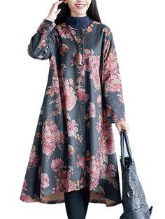 Sale 10% (39.99$) - Vintage Floral Printing Long Sleeve Loose Long  Women Coat
