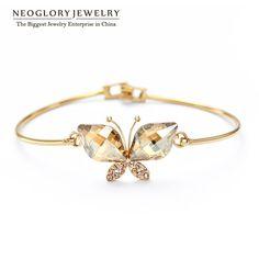 Austrian Crystal Auden Rhinestone Butterfly Design Bangles Bracelets Gold Plated for Women Jewelry  New JS6 But-g