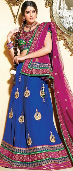 #Blue Faux Crepe Flared #Lehenga Choli with Dupatta @ $213.49