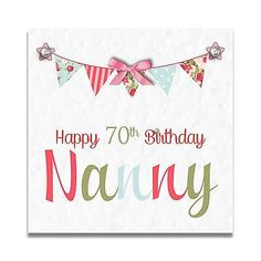 Handmade Personalised Nanny Nan Mum Grandma 60th 70th 80th 90th Birthday Card