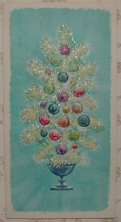 Vintage Gibson aqua Christmas card with white glitter tree and red, blue, green, & purple ornaments Vintage Christmas Images, Old Christmas, Christmas Scenes, Retro Christmas, Vintage Holiday, Christmas Pictures, Christmas Holidays, Christmas Crafts, Vintage Valentines