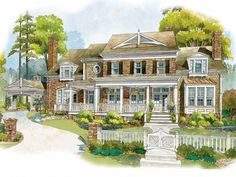 Colonial House Plan DHSW53213. 2 story, 4 bedroom, with Porte Cochere