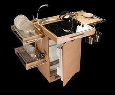 Mini kitchen,A small holiday home can come in handy with such a compact kitchen. I found the Mini Me on the amr helmy designs page. Micro Kitchen, Compact Kitchen, Kitchen Small, Small Kitchens, Tiny House Design, Home Design, Design Design, Camper Van Conversion Diy, Compact Living